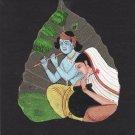 Indian Miniature Peepal Leaf Radha Krishna Art Handmade Hindu God Folk Painting