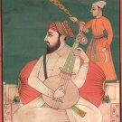 Sikh Guru Handmade Painting Indian Miniature Punjabi Holy Musician Folk Painting