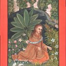 Yoga Painting Handmade Indian Miniature Yogini Ethnic Watercolor Bijapur Art