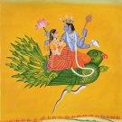 Vishnu Lakshmi Garuda Oil Painting Handmade Indian Hindu Ethnic Spiritual Art