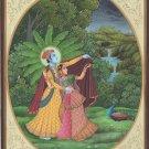 Krishna Radha Miniature Hindu Painting Handmade Indian Krishn Ethnic Selfie Art