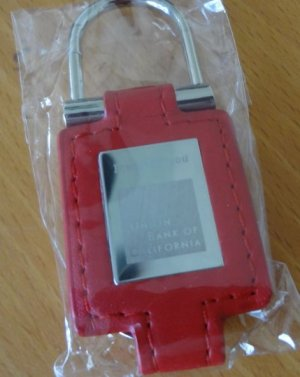 Red Leather Key Chain with Union Bank of California Brand ~ Elegant & Compact