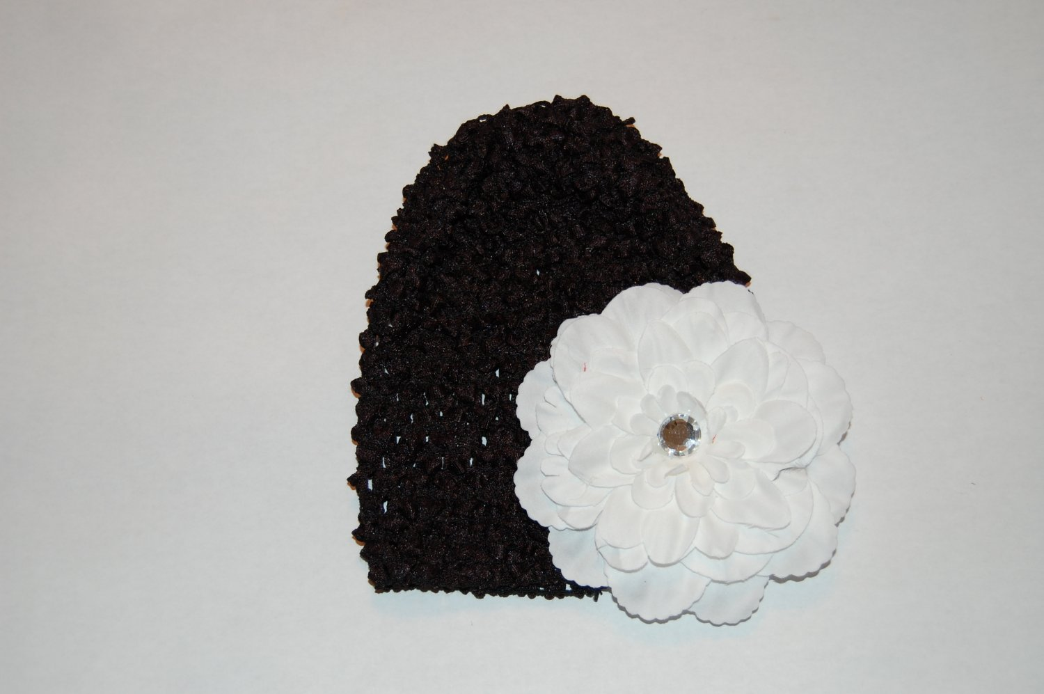 "Crocheted Black Hat with 4 1/2"" White Peony"