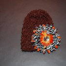 """Crocheted Brown Hat with 4"""" Orange Stacked Zebra Daisy"""