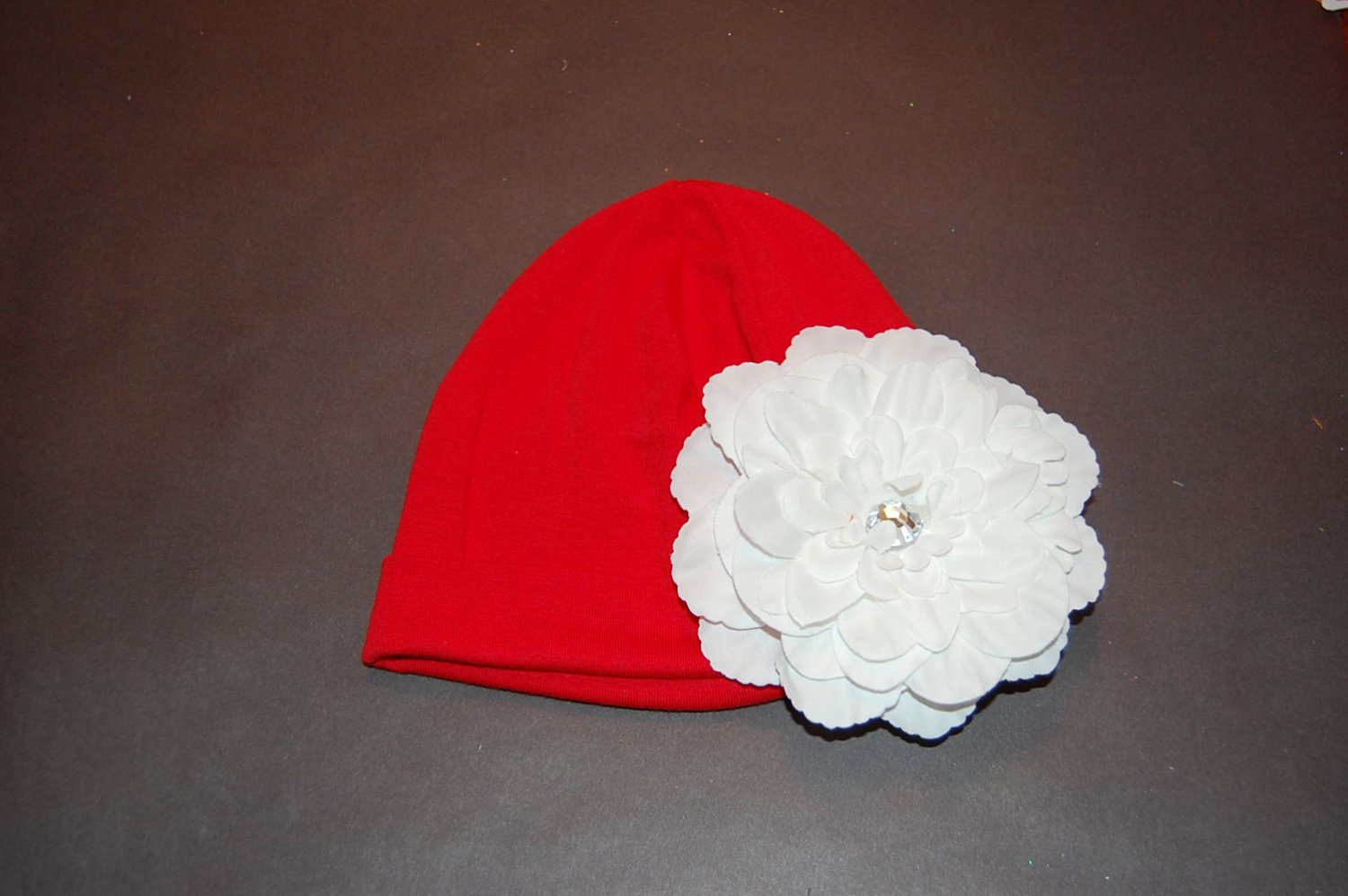 "Cotton Red Hat with 4 1/2"" White Peony Flower"