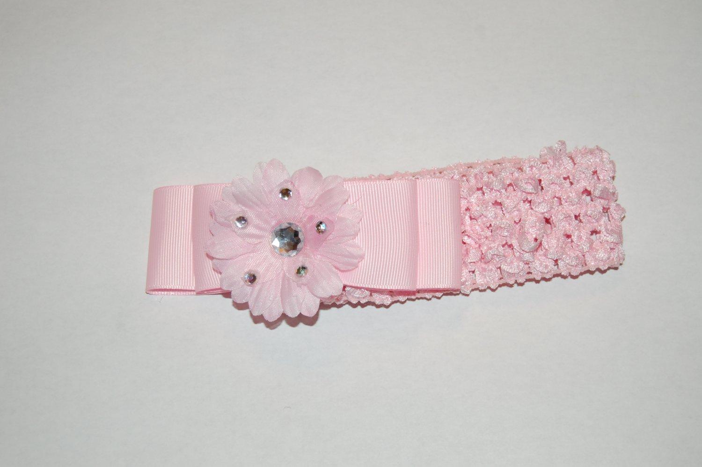 "2"" Daisy, Jewel Embellished, Ribbon, Crocheted Headband, Pink/Pink"