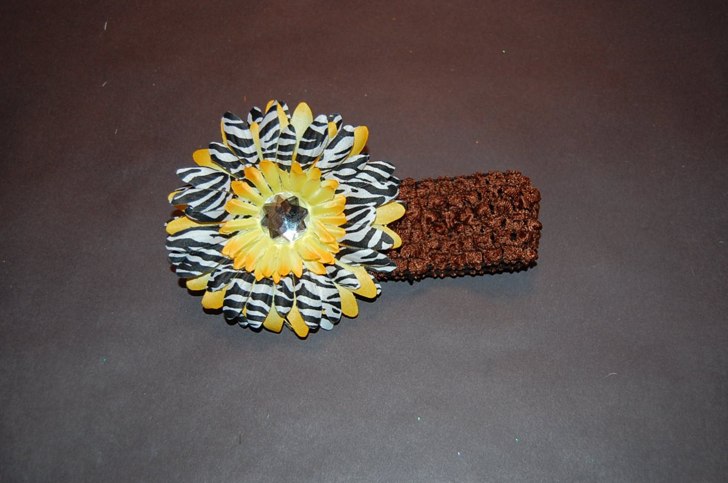 Brown Crocheted Headband with Yellow Stacked Zebra Daisy