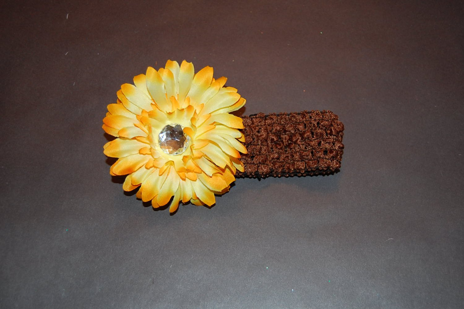 "Brown Crocheted Headband with 4"" Fluffy Golden Yellow Daisy"