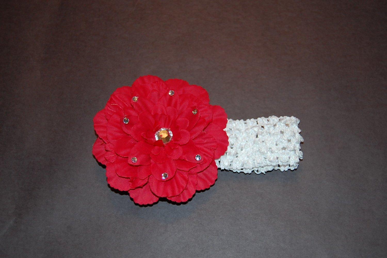 "4.5"" Peony with Jewel Studded on Crocheted Headband"