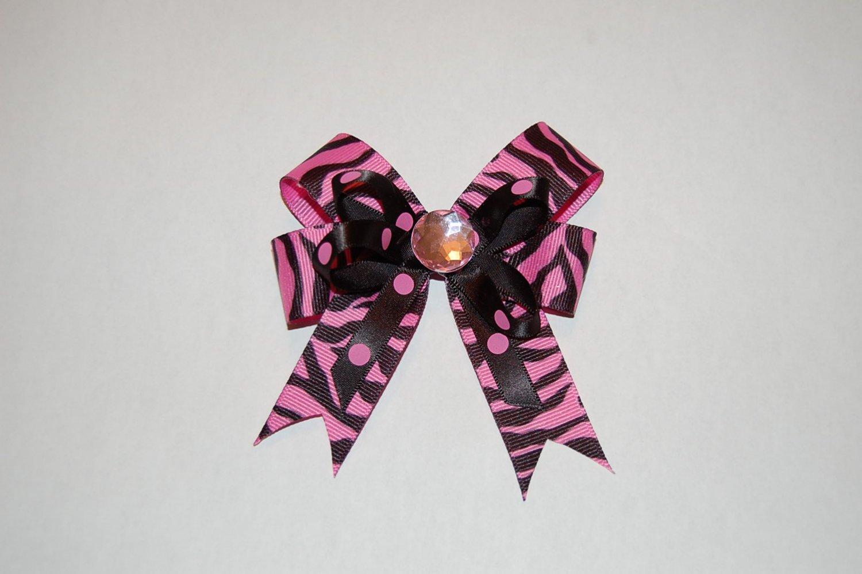 Layered Animal Print Bow with Spikes-Pink Zebra/Pink Polka Dot