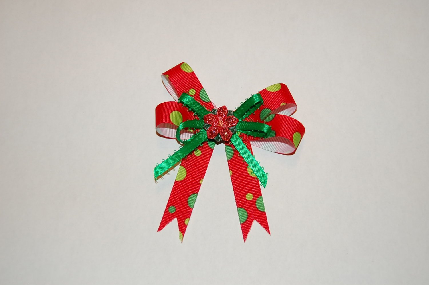Layered Bow, Red Print/Green, Charm Center, Hair Clip