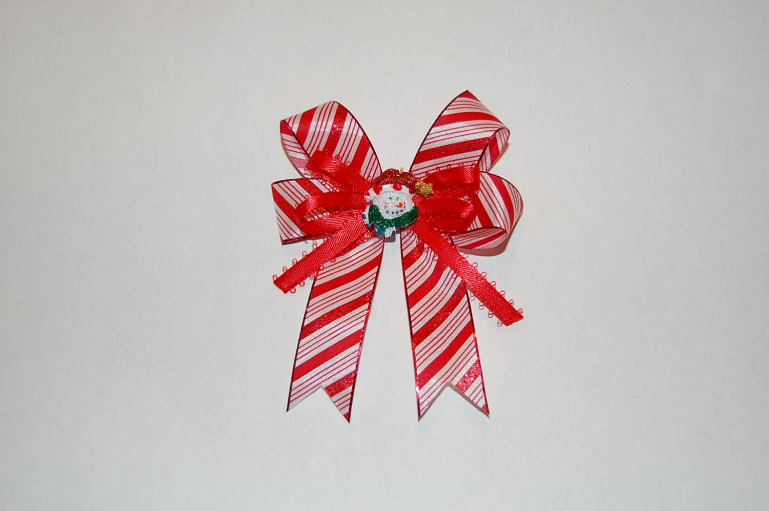 Layered Ribbon Bow,Red/White Striped Hair Clip With Charm Center