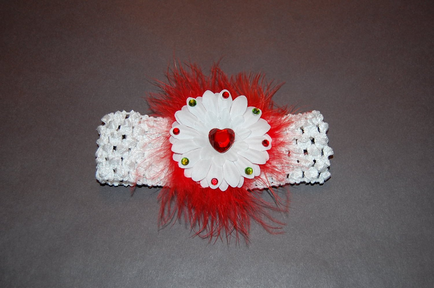 """2"""" Jeweled Embellished Daisy, Red Maribou Accent, Crocheted Band, White"""