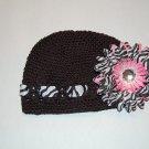Crocheted Kufi Hat, Black, Zebra Ribbon Accent,Pink Zebra Daisy . Sizes NB, SM, MED, LGE !