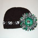 Crocheted Kufi Hat,Black, Zebra Ribbon Accent, Green  Zebra Daisy . Sizes NB, SM, MED, LGE !