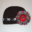 Crocheted Kufi Hat,Black, Zebra Ribbon Accent, Red Zebra Daisy . Sizes NB, SM, MED, LGE