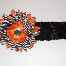 "4"" Layered Zebra Daisy, 2"" Sequined Headband, Orange  Zebra/Black"