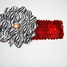"4"" Layered Zebra Daisy, 2' Sequined Headband, Black/White/Red"