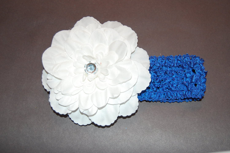 """4"""" Peony, Crocheted Headband, White/ Royal Blue"""