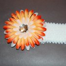 "4"" Sunshine Daisy, 2"" Sequined Headband, Orange Mix/White"