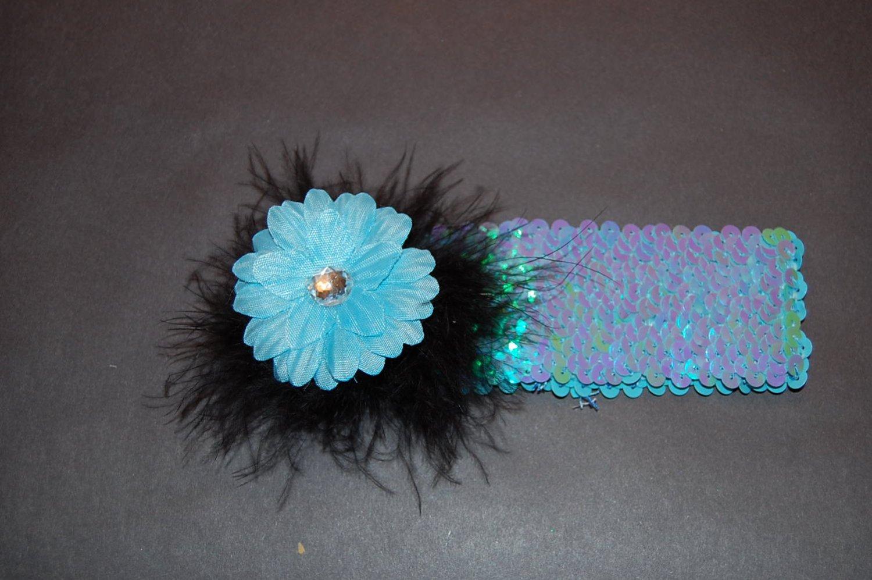 "2"" Daisy, Marabou, 2"" Sequined Headband, Blue/Black/Blue"