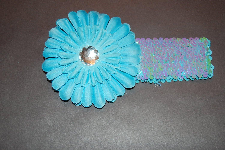 """4"""" Flat Daisy, 2"""" Seqioned Headband, Blue/Blue"""
