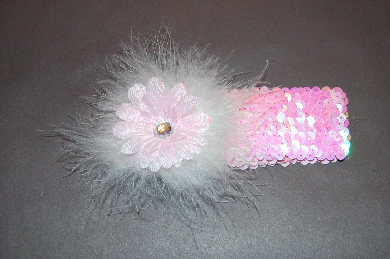 "2"" Daisy, Marabou, 2"" Sequined Headband, Pink/Pink"