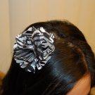 Hard Headband, Satin Finish, Satin Mesh Zebra Flower, Black/ White/ Black