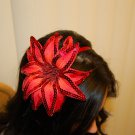 Hard Headband, Satin Finish, Sequin Fire Flower, Red/ Red
