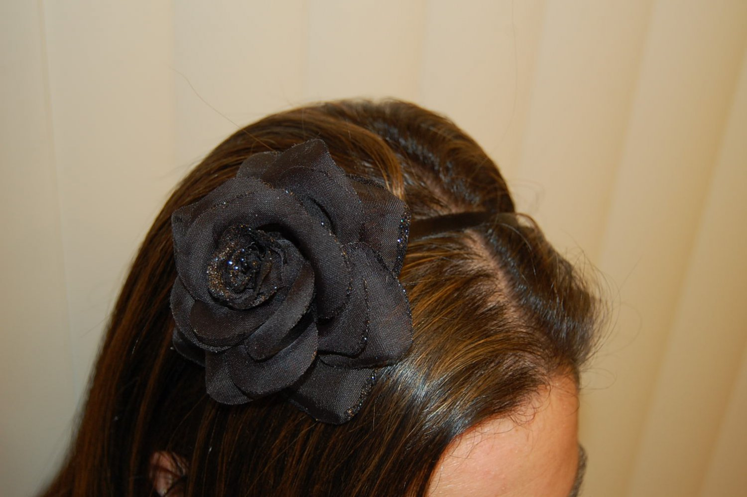Hard Headband, Satin Finish, Glitter Rose, Black/Black