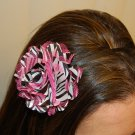 Hard Headband, Satin Finish, Satin Mesh Flower, Pink Zebra/ Black