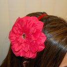 "Hard Headband, Satin Finish, 4"" Peony, Red/Red"
