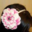 "Hard Headband, Satin Finish, 4"" Peony, Two-Tone Pink/ White/White"