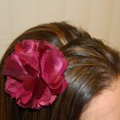 Hard Headband, Satin Finish, Satin Mesh Flower, Burgundy/Black
