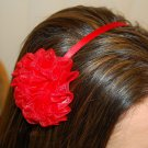Hard Headband, Satin Finish, Chiffon Rosette, Red/Red