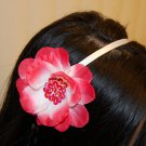 Hard Headband, Satin Finish, Sequin Flower, Bright Pink/White