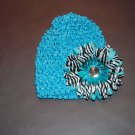 """Crocheted Hat, 4"""" Stacked Zebra Daisy, Turquoise/Blue"""