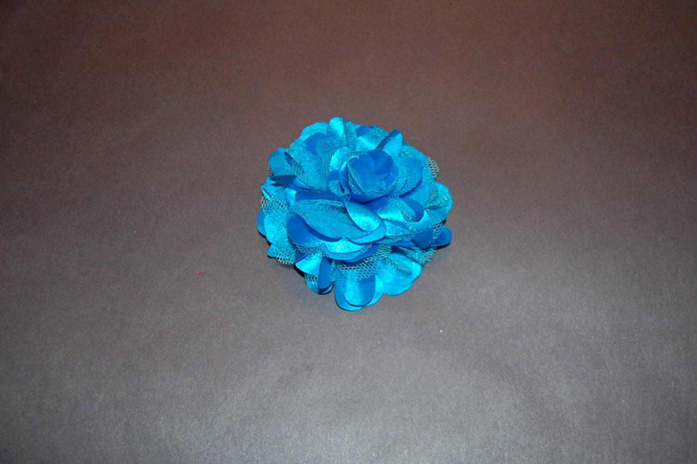 Silk Mesh Flower on Alligator Clip, Blue