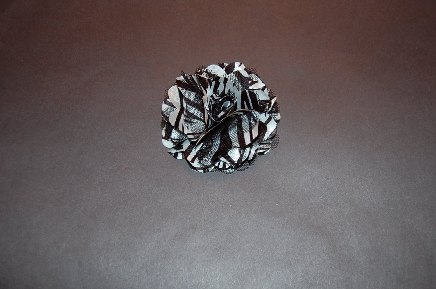 Silk Mesh Flower on Alligator Clip, Black/White Zebra