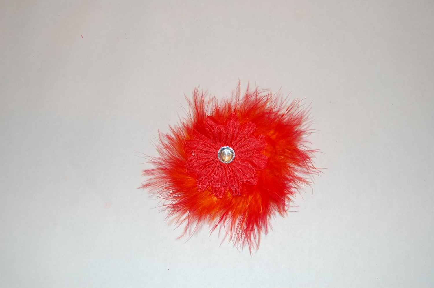 """2"""" Daisy, Marabou, on Alligator Clip, Red/Red"""
