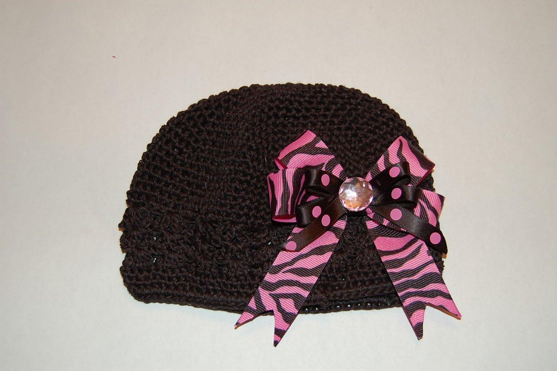 Crocheted Kufi Hat,Black, Pink Zebra Layered Bow . Sizes NB, SM, MED, LGE