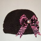 Crocheted Kufi Hat,Black, Pink Zebra Layered Bow . Sizes NB, SM, MED, LGE