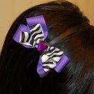 Hard Headband, Satin Finish, Boutique Bow, Gemstone Center, Color: Zebra/Purple, Size: All