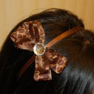 Hard Headband, Satin Finish, Boutique Bow, Gemstone Center, Color: Leopard/Brown, Size: All