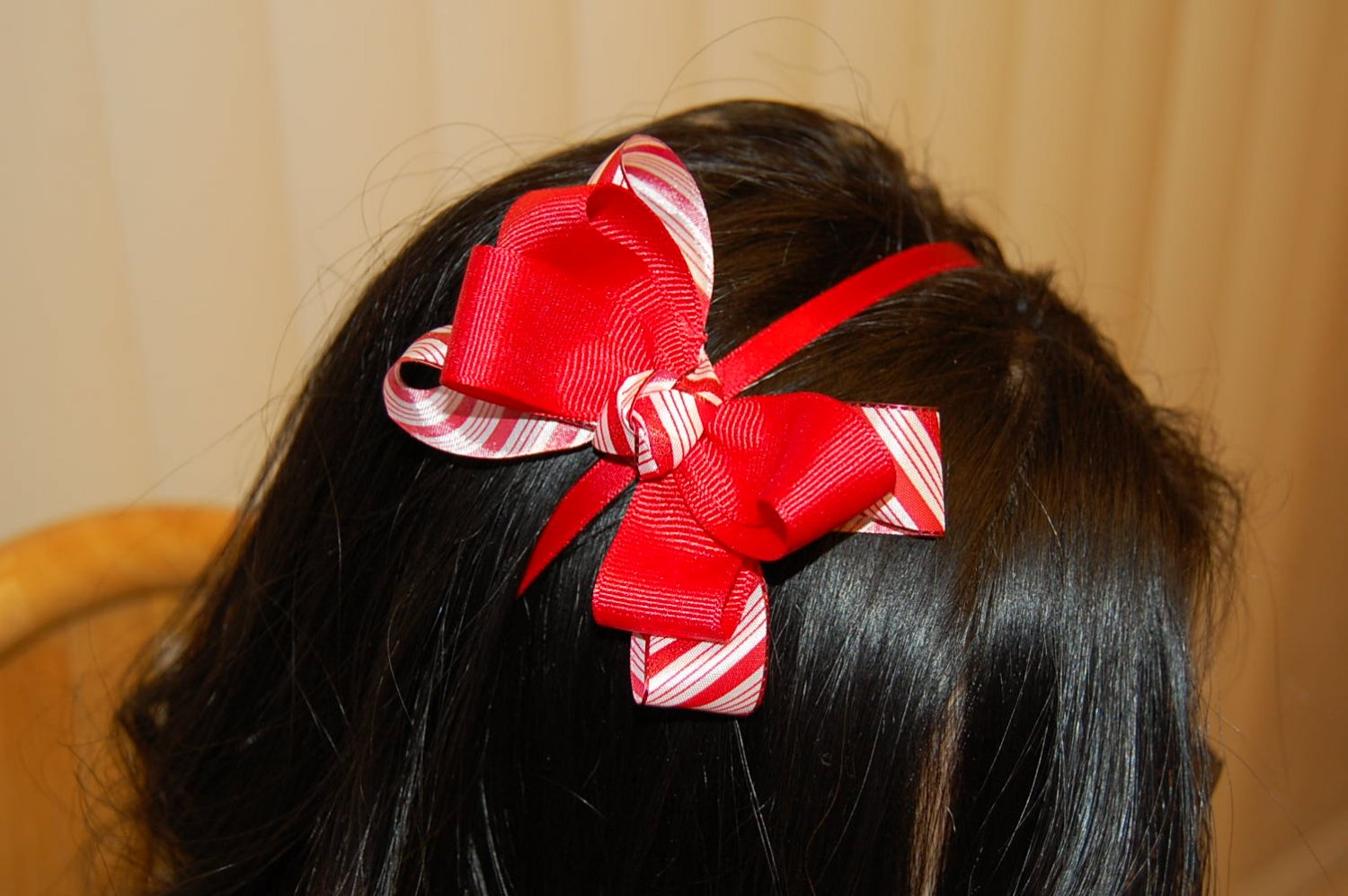 Hard Headband, Satin Finish,Boutique Bow, Color: Red/White