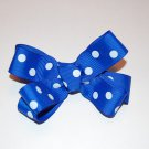 "Boutiqe Bow,4"", Lined Alligator Clip, Royal Blue Polka Dot,"