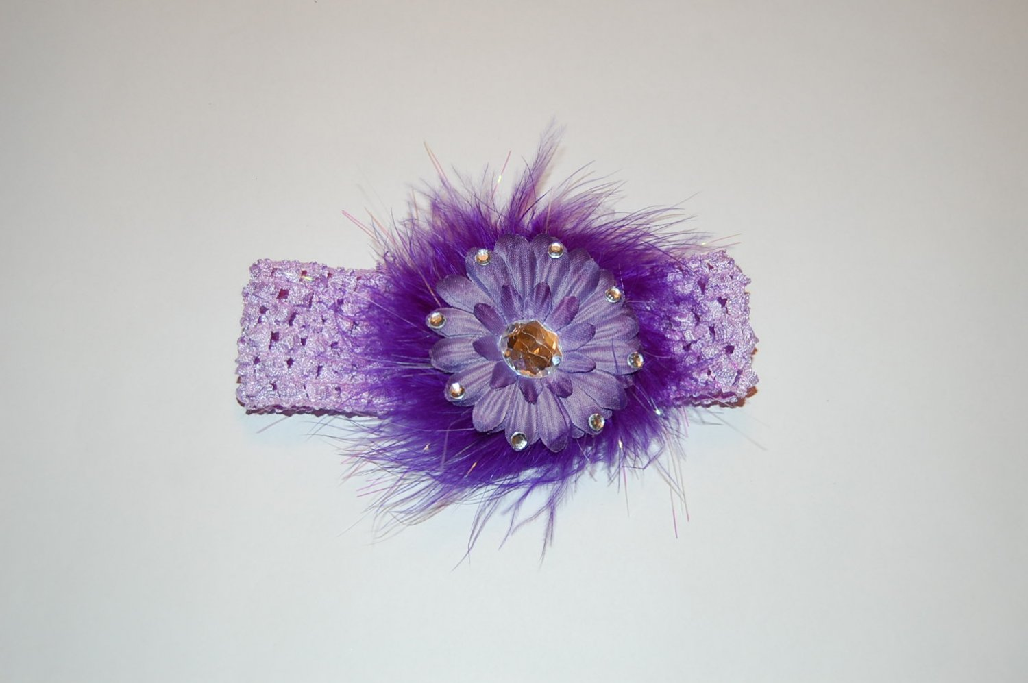 "Crocheted Headband, Embellished Flat Daisy, 2"", Gemstone, Maribou, alligator clip, Lavendar/Purple"