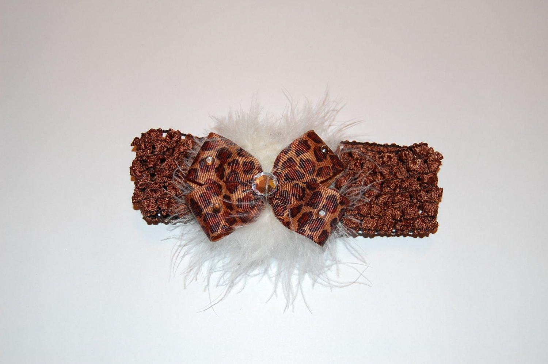 Crocheted Headband, Embellished Boutique Bow, Maribou, Allligator clip, Leopard/Brown