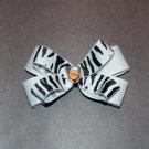 "Layered Boutique Bow,4"", Gem Center, White/Black Zebra, Alligator clip"