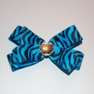"Layered Boutique Bow,5"", Gem Center, Blue/Black Zebra, Alligator clip"